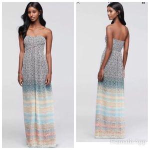 Jessica Simpson printed strapless maxi dress